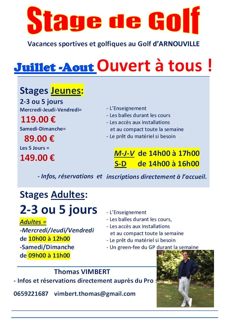 Stages Juillet Aout